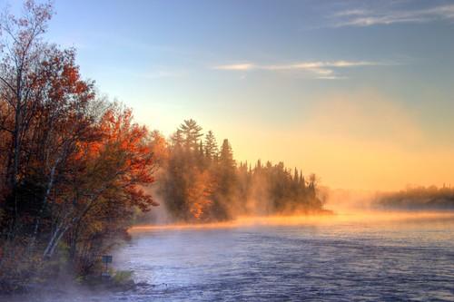 autumn trees fall sunrise river mississippi landscape gold current hcs