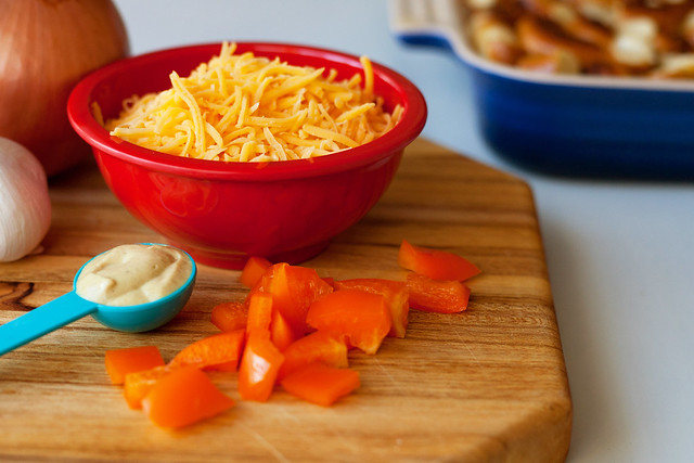 chopped veggies and shredded cheese in a bowl from Flickr via Wylio