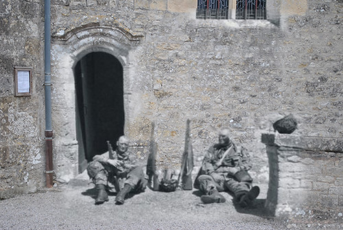 Screaming Eagles in front of church in St. Mere-Eglise, June 1944