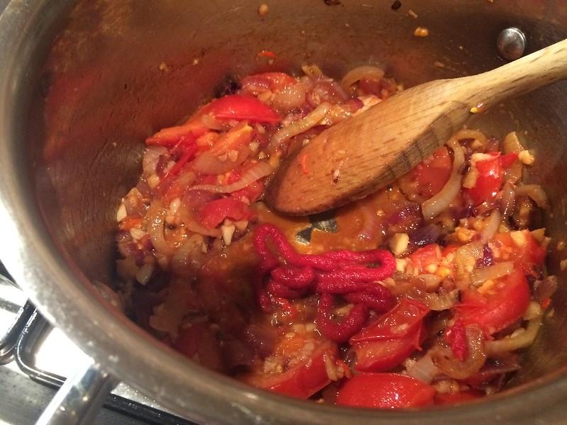7 Pot Keema : Add the tomatoe puree