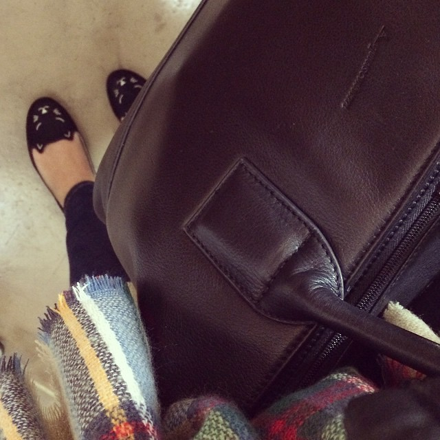 #todayimwearing kitty shoes, Aquascutum bag & a scarf that does in fact double up as a blanket.