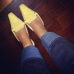 Y is for... Yellow mules. My happy shoes for child-free nights out, because they slow me down in a chase.