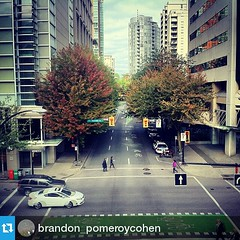 #Repost from @brandon_pomeroycohen with @repostapp   —  #Hornby #street #view #downtown #vancity #Vancouver #road #buildings #perspective #distance #cars #driving #trees #skyscrapers