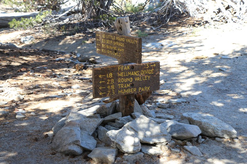 Trail junction signs just below San Jacinto Peak where the Deer Springs Trail ends