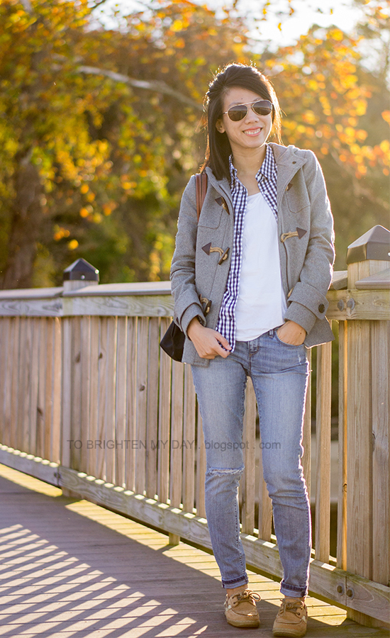 gray toggle duffle coat, navy gingham shirt, white tee, distressed jeans