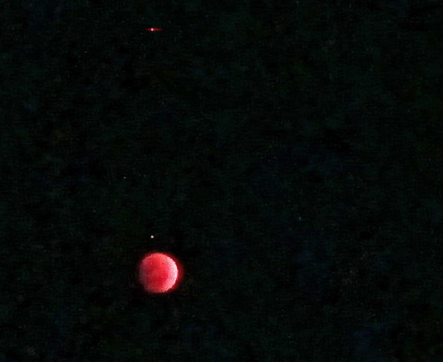Red low - Lunar Eclipse October sky