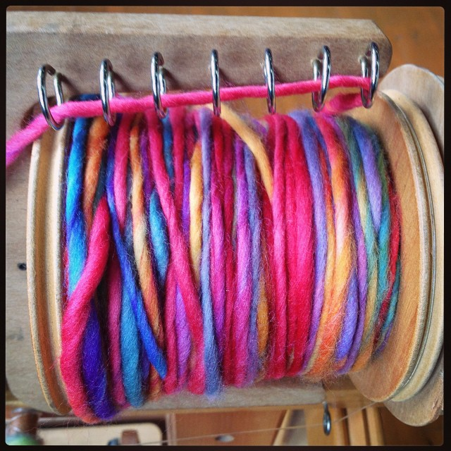Oh man. This Sheep Spot Polwarth is DELICIOUS. Dyed by @thecraftyrabbit. #spinzilla #spinstagram