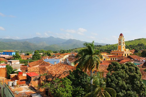 above morning trees roof sky house mountain green tower home up yellow village view cuba clear cover trinidad hight