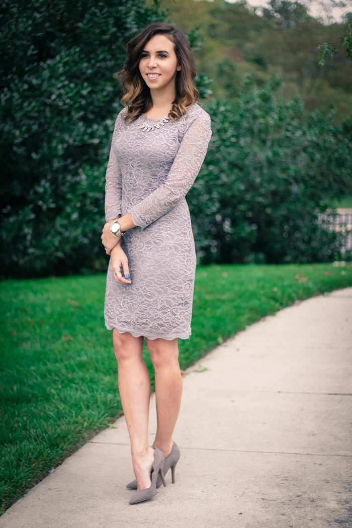 piperlime collection lace dress. grey pumps. chinese laundry scallopped heels va darling. dc style fashion blogger. 18