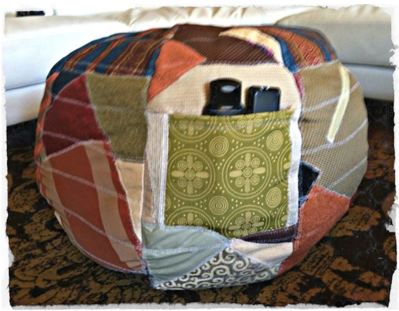 DIY Do it yourself free ottoman with scrap fabric