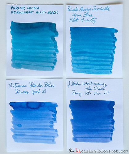 Parker Quink Blue Black vs PR Invincible Aqua Blue vs Waterman Florida Blue vs J Herbin 1670 Bleu Ocean