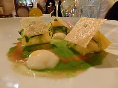 Ricotta-filled ravioli, quail eggs, parmesan crack…