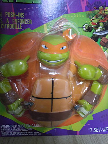 "GEMMY :: Nickelodeon  TEENAGE MUTANT NINJA TURTLES;  ""MICHELANGELO""  PUMPKIN PUSH-IN DECORATING KIT iii  (( 2014 ))"