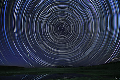Star Trail over New Mexico with Meteor