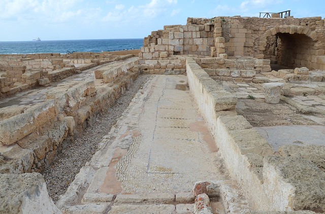 The public latrine used during the Roman and Byzantine periods, Caesarea, Israel
