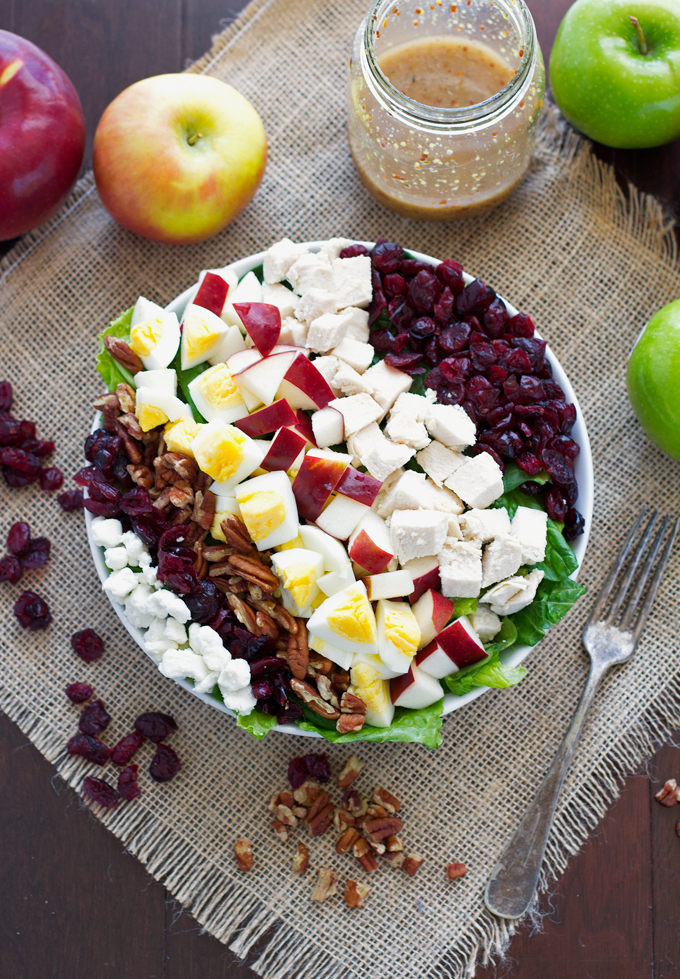 Autumn Harvest Salad with Sweet Dijon Vinaigrette - loaded with so much goodness you'll be full for hours! #autumnsalad #harvestsalad #chickensalad | Littlespicejar.com