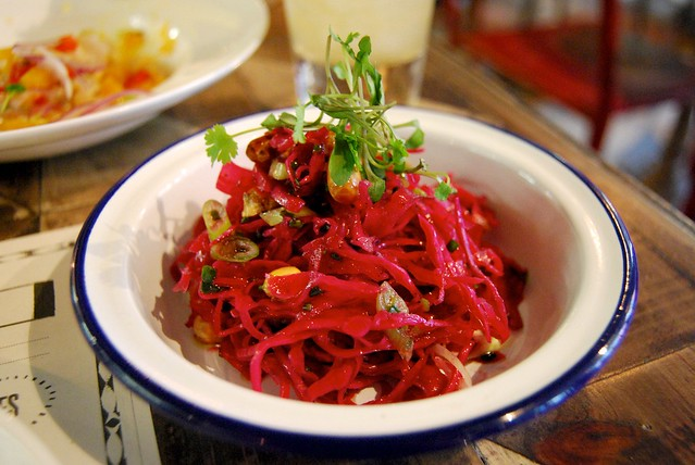 Pink Pickled Cabbage at Señor Ceviche, Soho