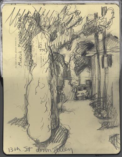 sketch alleyway urbanlandscape cedarfallsiowa 5bpencil pocketsizemoleskine marciamilnerbrage