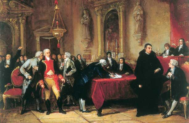 Depicting the signing of the declaration by Martín Tovar y Tovar
