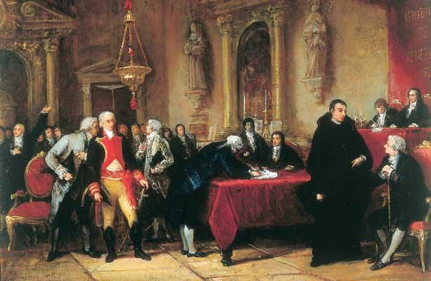 Depicting the signing of the declaration by Martín Tovar y Tovar