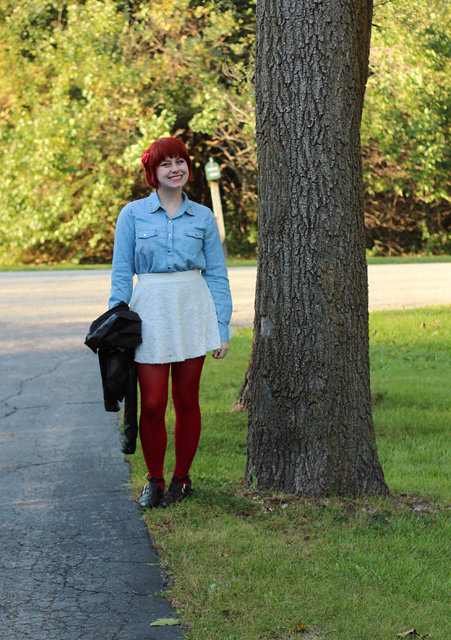 Denim Button Down, Lace Skater Skirt, Red Tights, and Black Boots