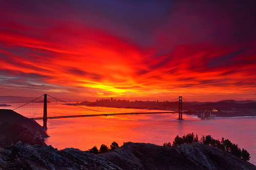 sanfrancisco california morning light red sky color water clouds sunrise fire dawn nikon goldengatebridge bayarea sausalito hawkhill