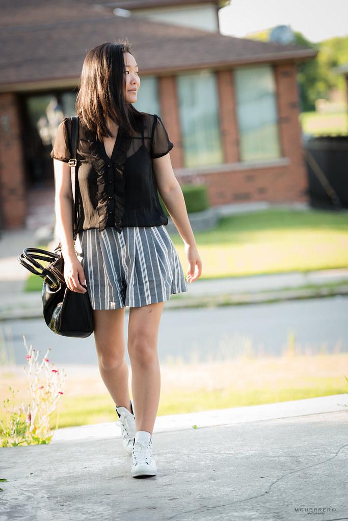 Sheer ruffled top pinstripe shorts 13