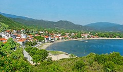 Macedonia, Olympiada, Chalkidiki, view to the village and bay, Greece #Μacedonia