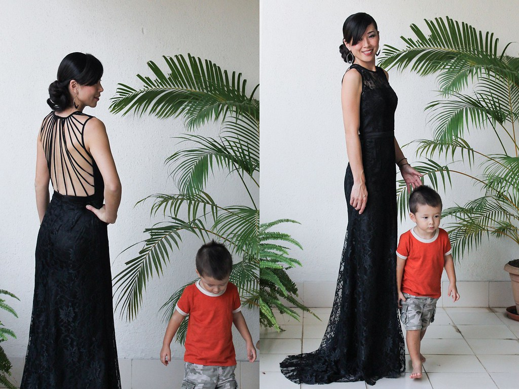 Black lace dress with back strings3