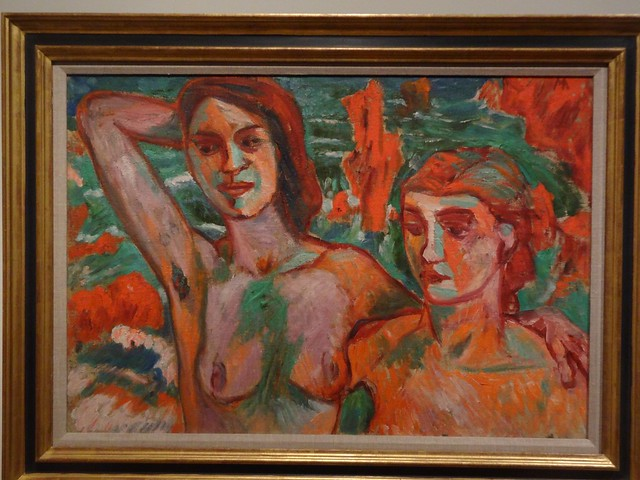 Bathers at sunset, by Mikhail Larionov. (1909).