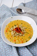 Red lentils, carrot and leek soup with quinoa