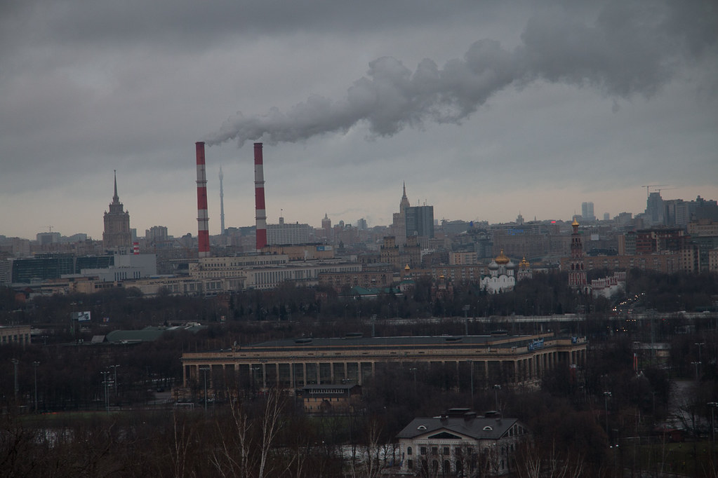 Smokestacks in Moscow - View from Sparrow Hills