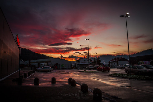 sunset cars clouds parkinglot croatia