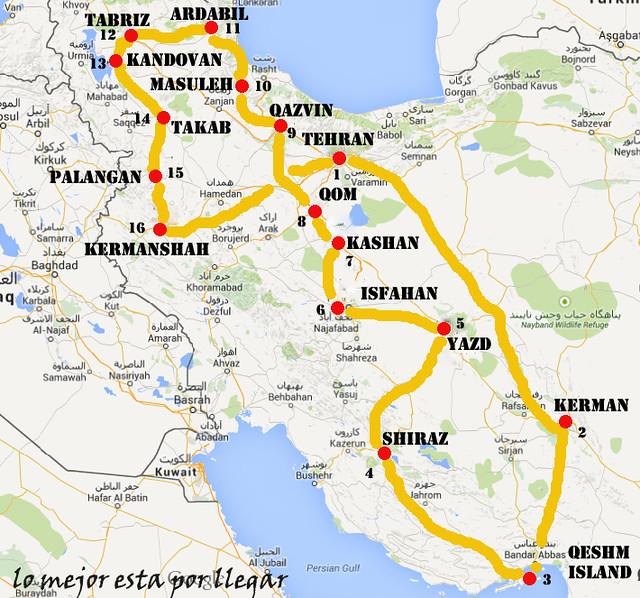 Itinerario previsto Irán