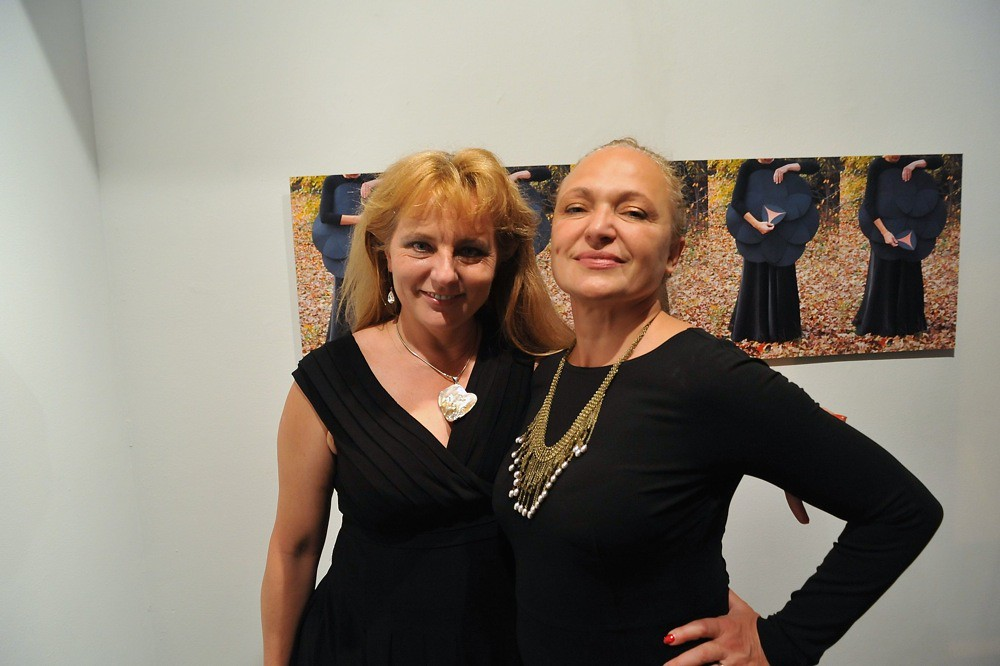 "<p>Hanna and Lilia celebrate together another great opening of ""Rage"" by Michele Riml<br /> <br /> Photo By Val Radev</p>"