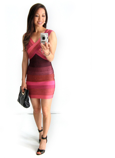 Burgundy Bandage Dress from ClubCouture