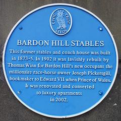 Photo of Bardon Hill Stables blue plaque