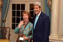 U.S. Secretary of State John Kerry shares a laugh with EU High Representative Lady Catherine Ashton before hosting her for dinner at the U.S. Department of State in Washington, D.C., on October 29, 2014. [State Department photo/ Public Domain]