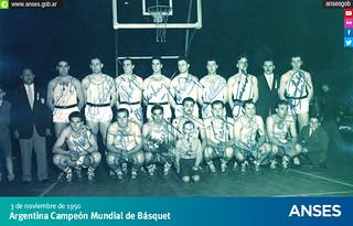 3 de noviembre de 1950. Argentina Campeón Mundial de Básquet
