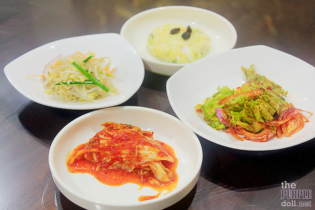 Complimentary Banchan - kimchi, korean salad, gamja salad, sukju namul muchim