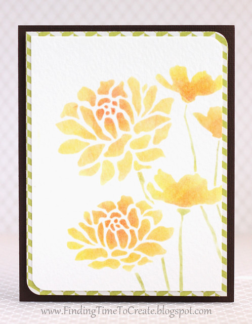 Yellow stenciled rose card by Kelly Wayment