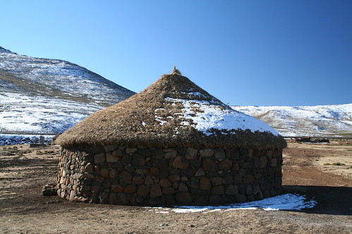 Snow covered rondavel, Lesotho