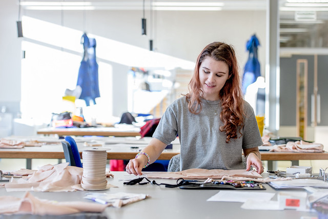 Costume Apprentice Sophie Scott works in Bob and Tamar Manoukian Production Workshop and Costume Centre © ROH 2016. Photograph by Sim Canetty-Clarke