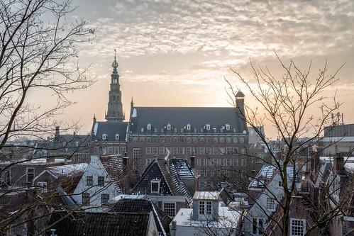 stadhuis cityhall leiden netherlands nederland holland sunset zonsondergang burcht winter sky cityscape citylandscape stadsgezicht snow