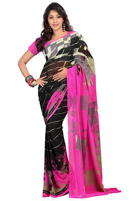 Classy Black Colored Designer Printed Faux Georgette Saree Sarees on Shimply.com