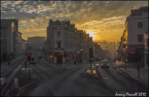 street city uk morning england sky cars architecture clouds sunrise buildings bristol december roads 2012 parkstreet takenthroughawindow nikond90 photographybyjeremyfennell phototakenfromthetopofabus