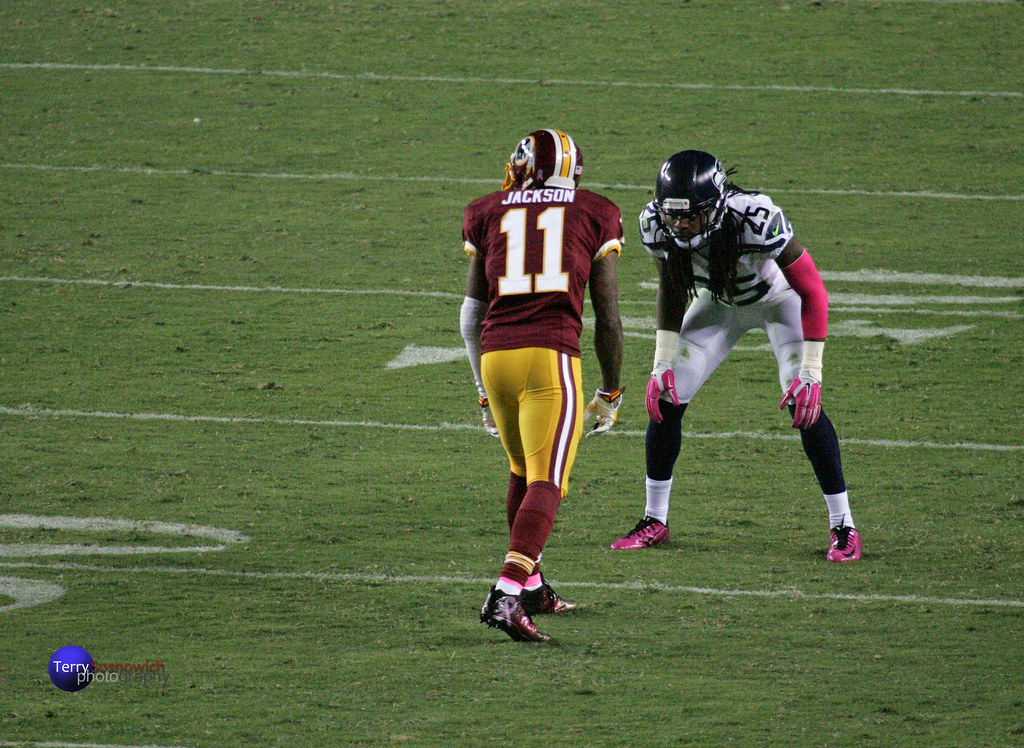 Redskins WR DeSean Jackson lines up against CB Richard Sherman.