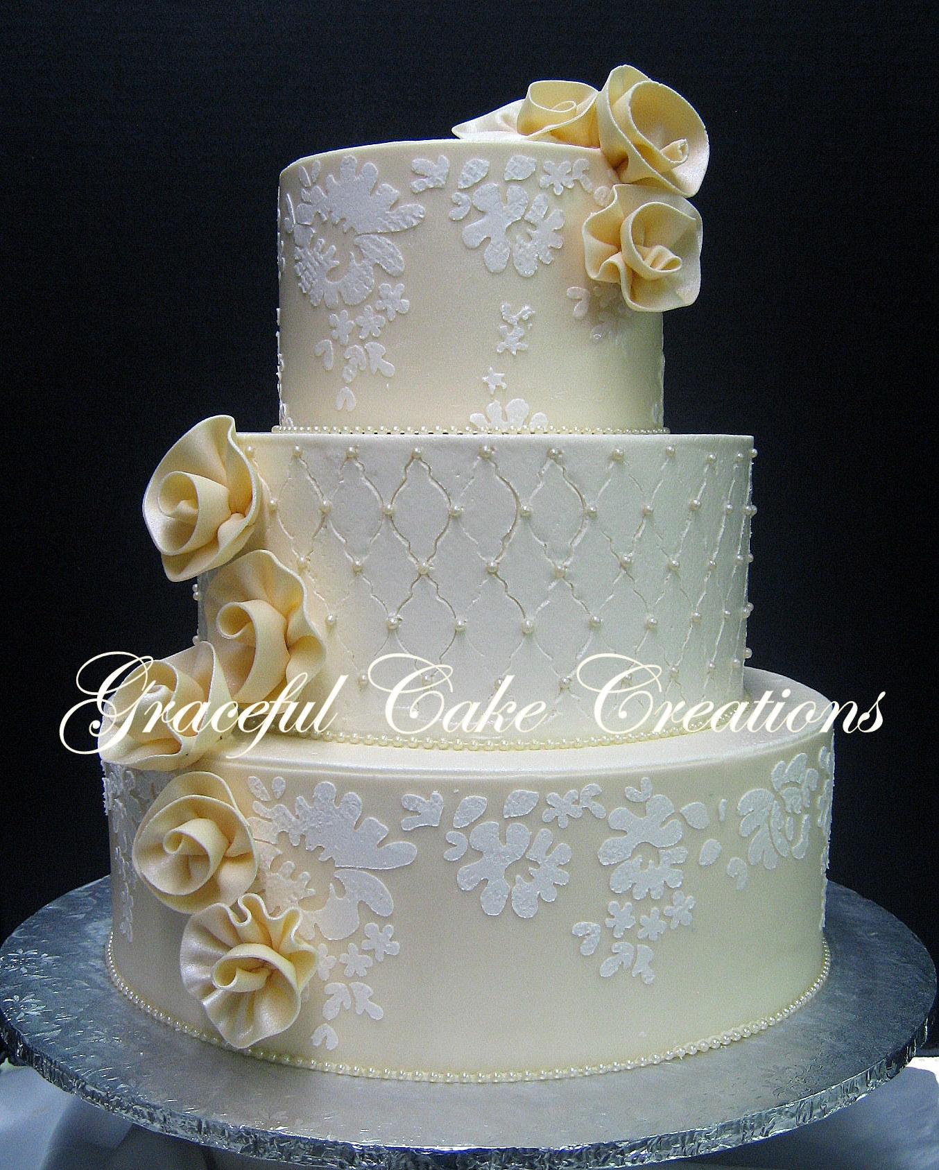 Elegant Ivory Wedding Cake with Alencon Lace Stencil