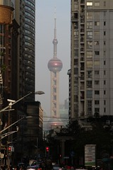 Looking across the river to the Oriental Pearl Tower