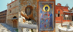 Macedonia, Xenophontos Greek Orthodox monastery (founded 997), st Georgios icon, Mount Athos, Chalkidiki  #Μacedonia